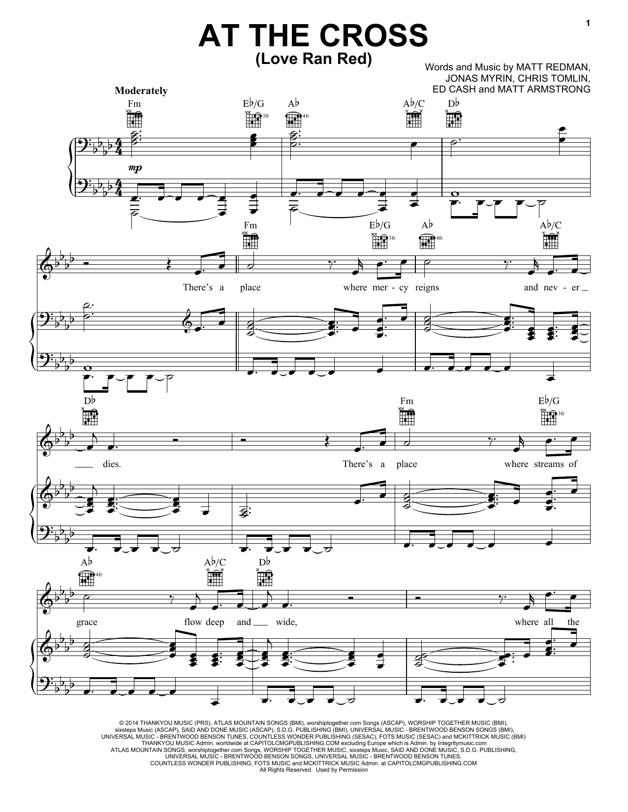 Chris Tomlin At The Cross Love Ran Red Sheet Music Notes Chords