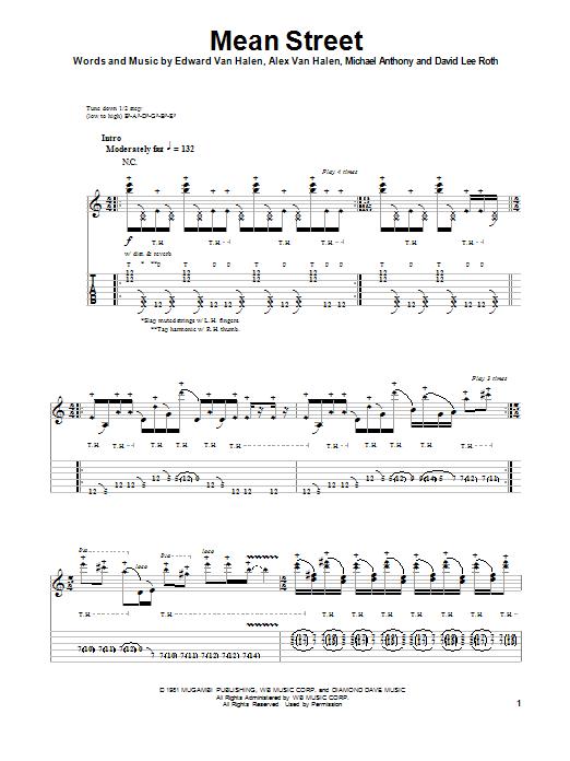 Van Halen Mean Street Sheet Music Notes Chords Printable Rock