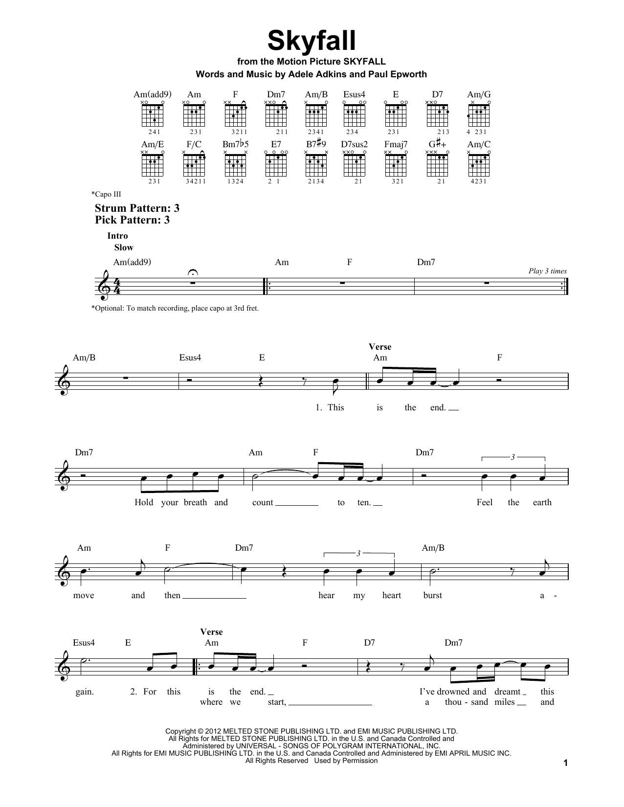 Adele Skyfall Sheet Music Notes Chords Printable Rock Easy