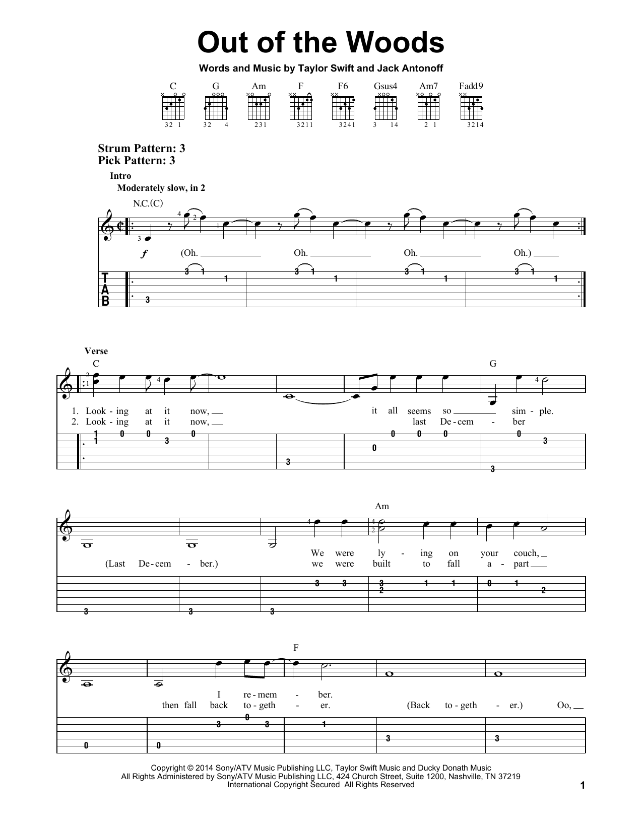 Taylor Swift Out Of The Woods Sheet Music Notes Chords
