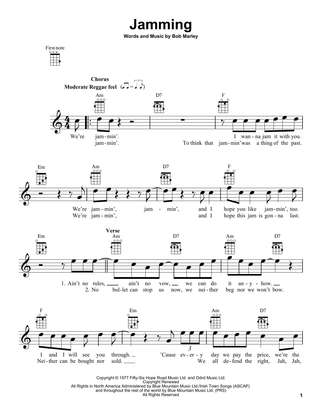 Bob Marley Jamming Sheet Music Notes Chords Printable Pop