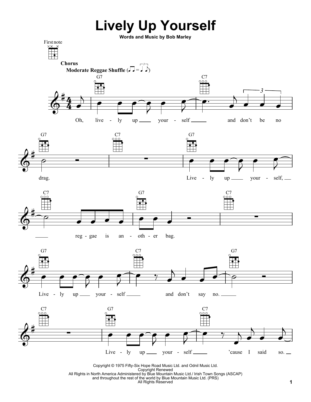 Bob Marley Lively Up Yourself Sheet Music Notes Chords