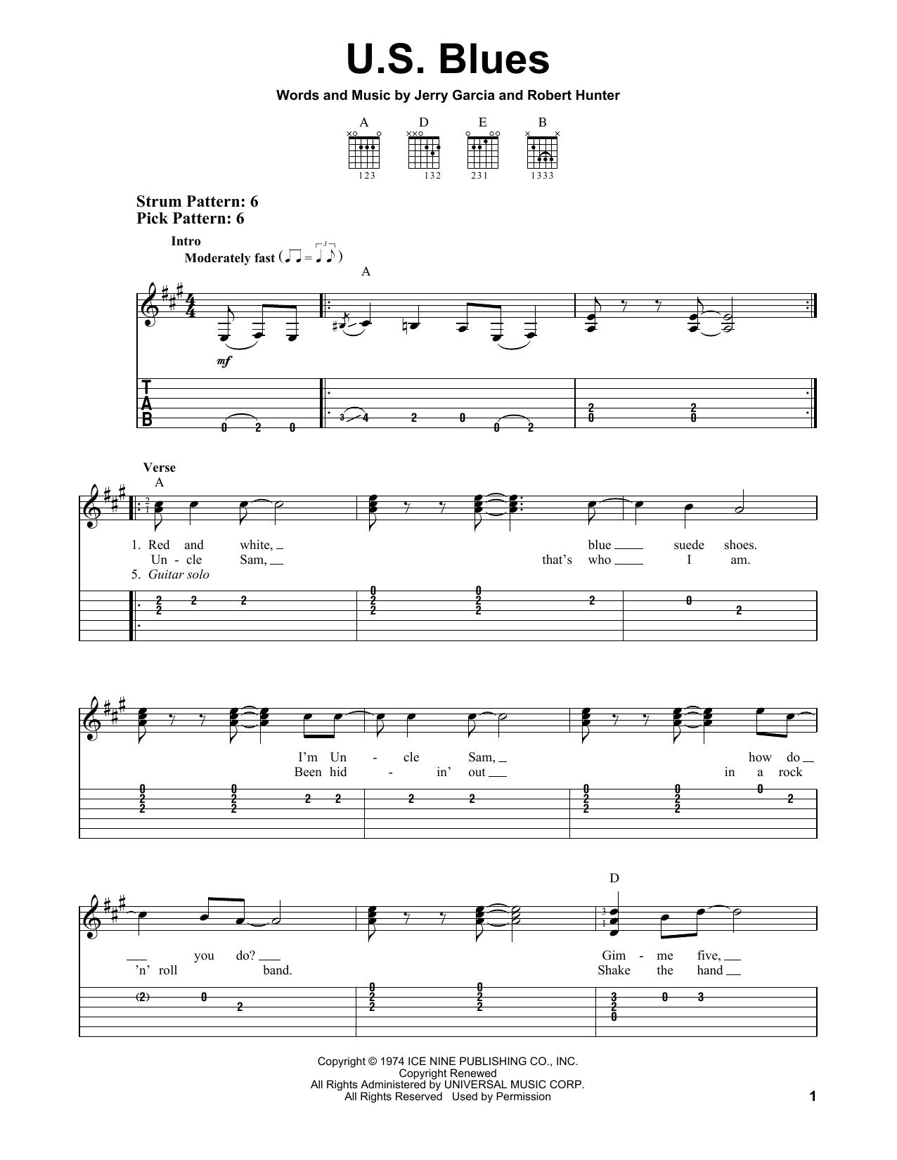 Grateful Dead 'U S  Blues' Sheet Music Notes, Chords   Download Printable  Easy Guitar Tab - SKU: 156723