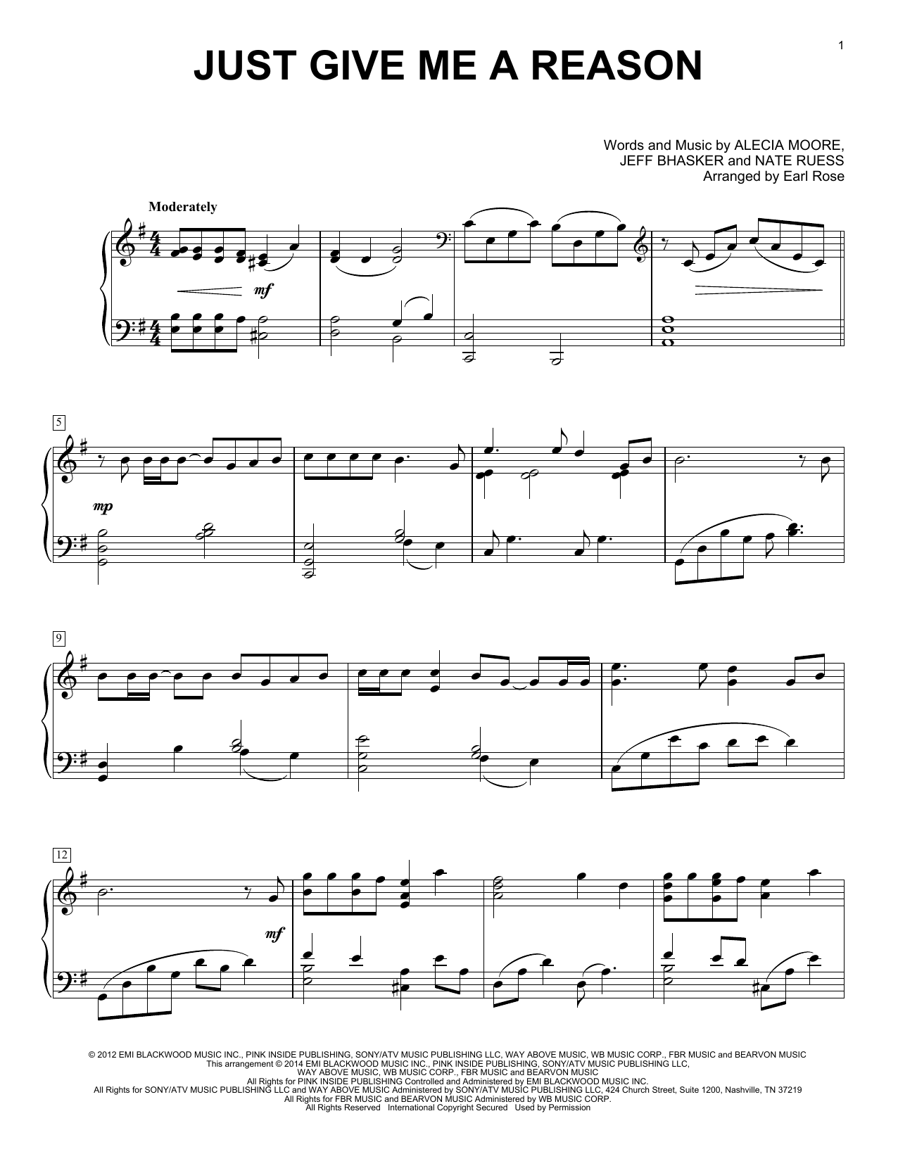 Earl Rose Just Give Me A Reason Sheet Music Notes Chords