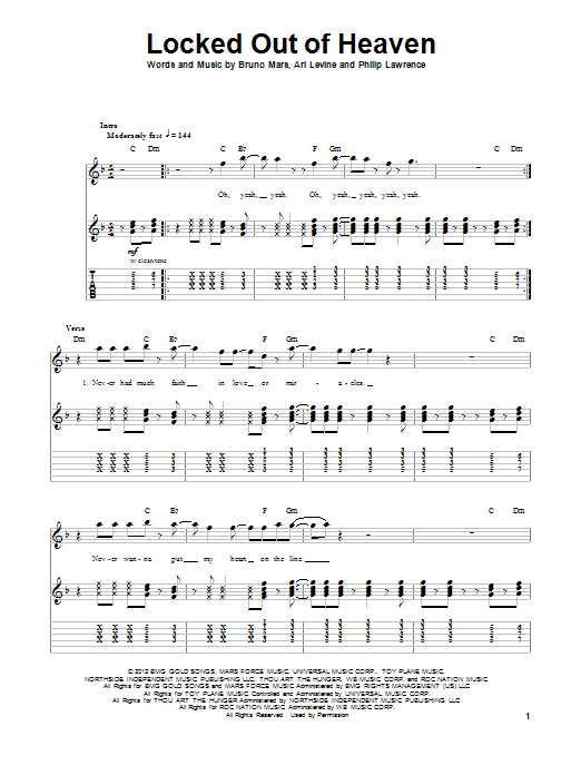 Bruno Mars Locked Out Of Heaven Sheet Music Notes Chords
