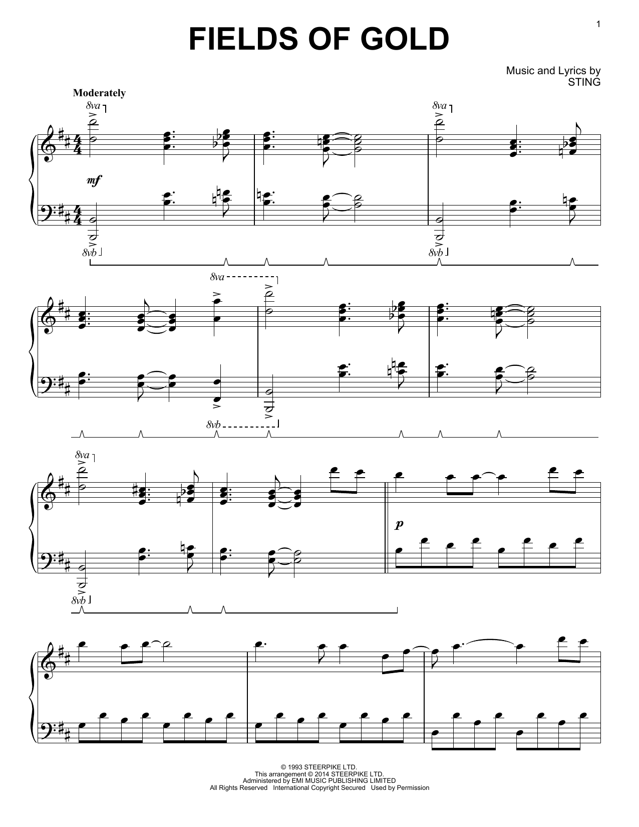 Sting Fields Of Gold Sheet Music Notes Chords Printable Rock