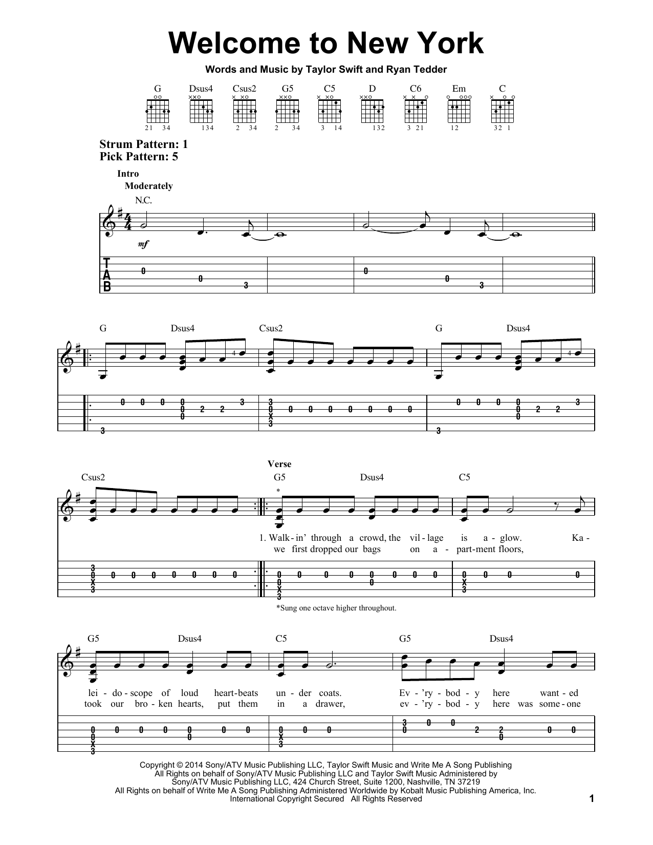 Taylor Swift Welcome To New York Sheet Music Notes Chords