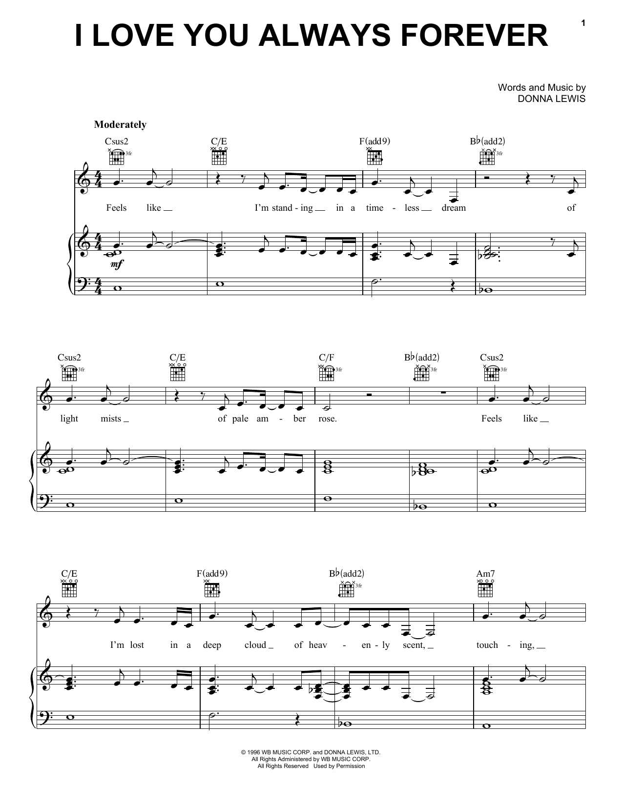 Donna Lewis I Love You Always Forever Sheet Music Notes Chords