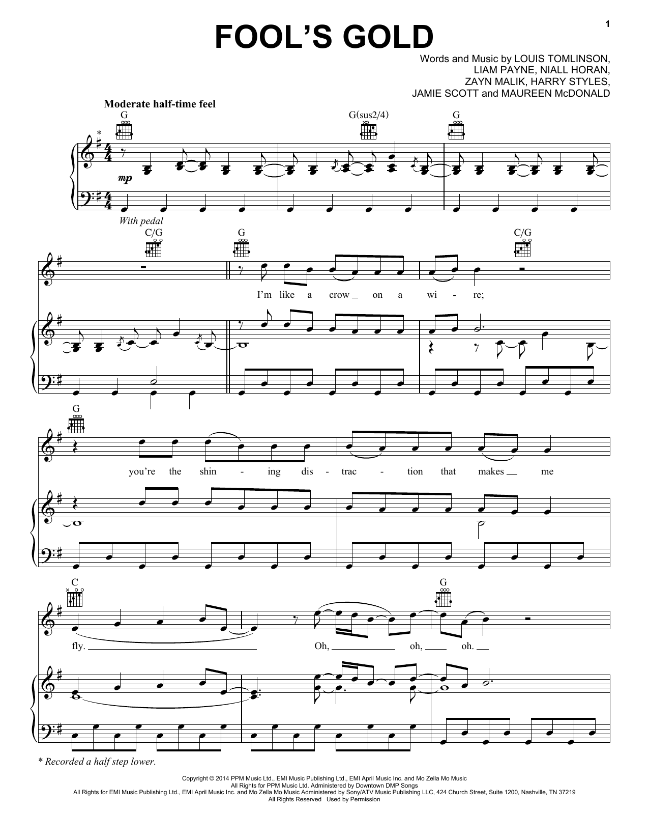 One Direction Fools Gold Sheet Music Notes Chords Printable