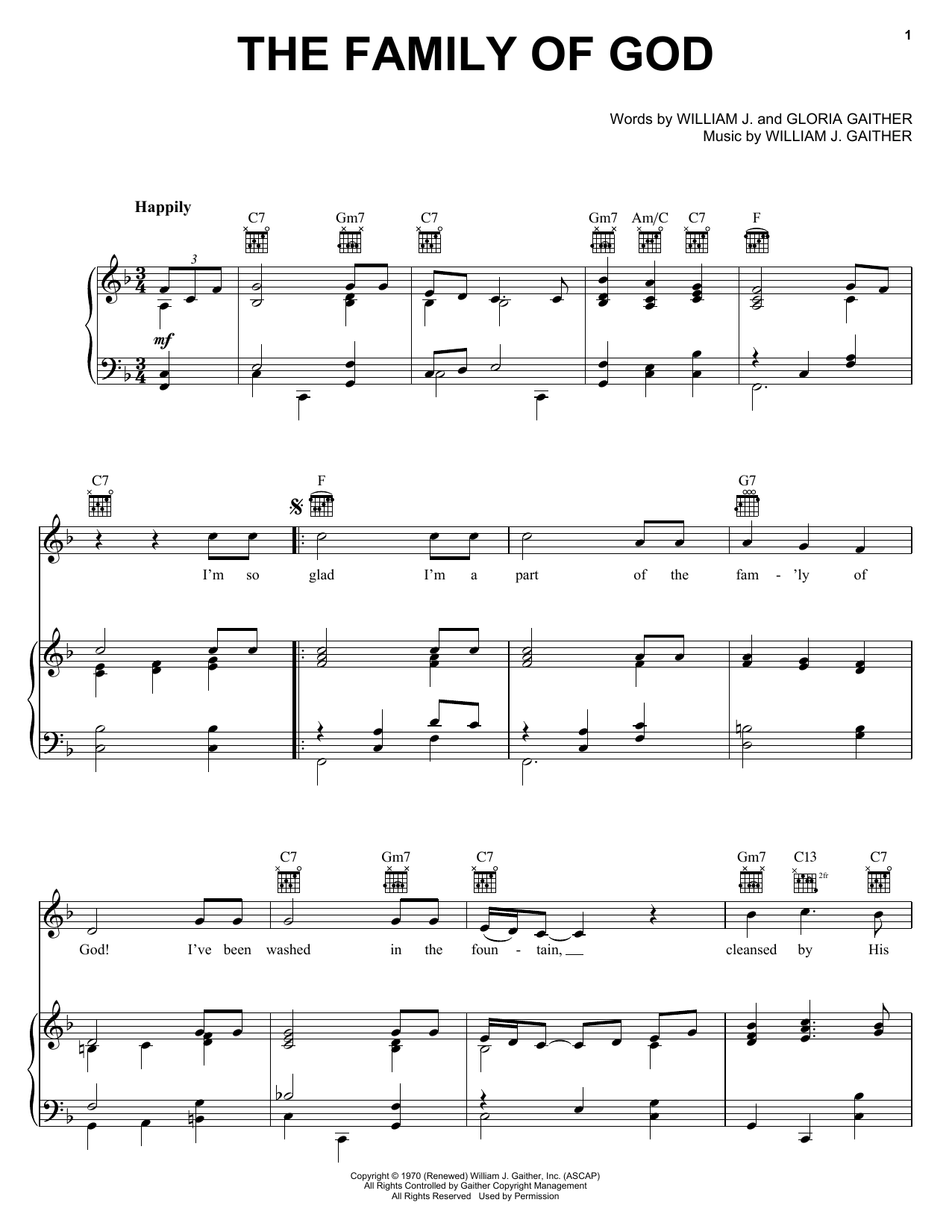 Bill Gloria Gaither The Family Of God Sheet Music Notes Chords