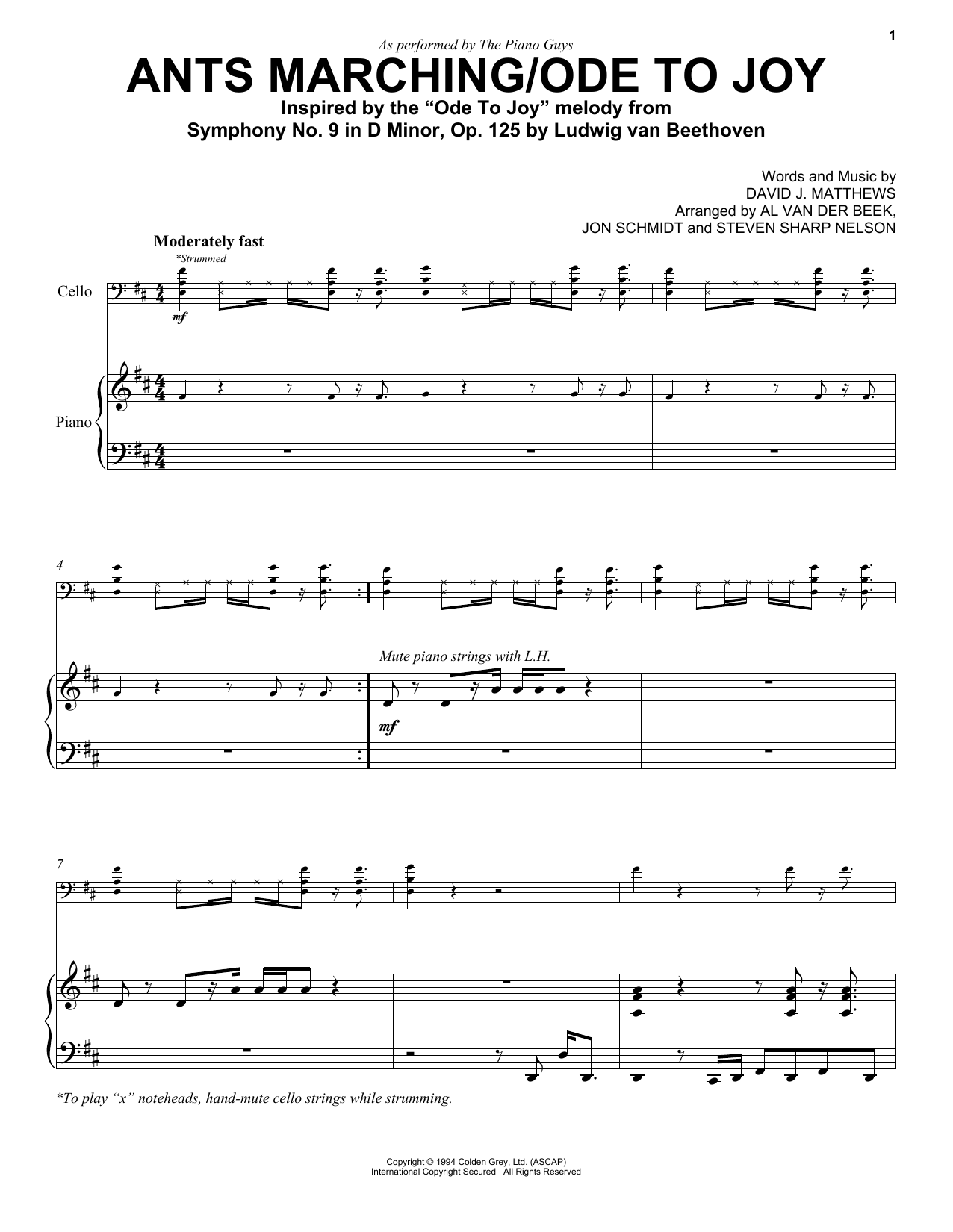 The Piano Guys Ants Marchingode To Joy Sheet Music Notes Chords