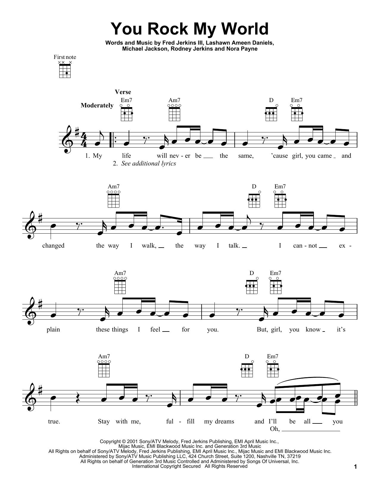 Michael Jackson You Rock My World Sheet Music Notes Chords