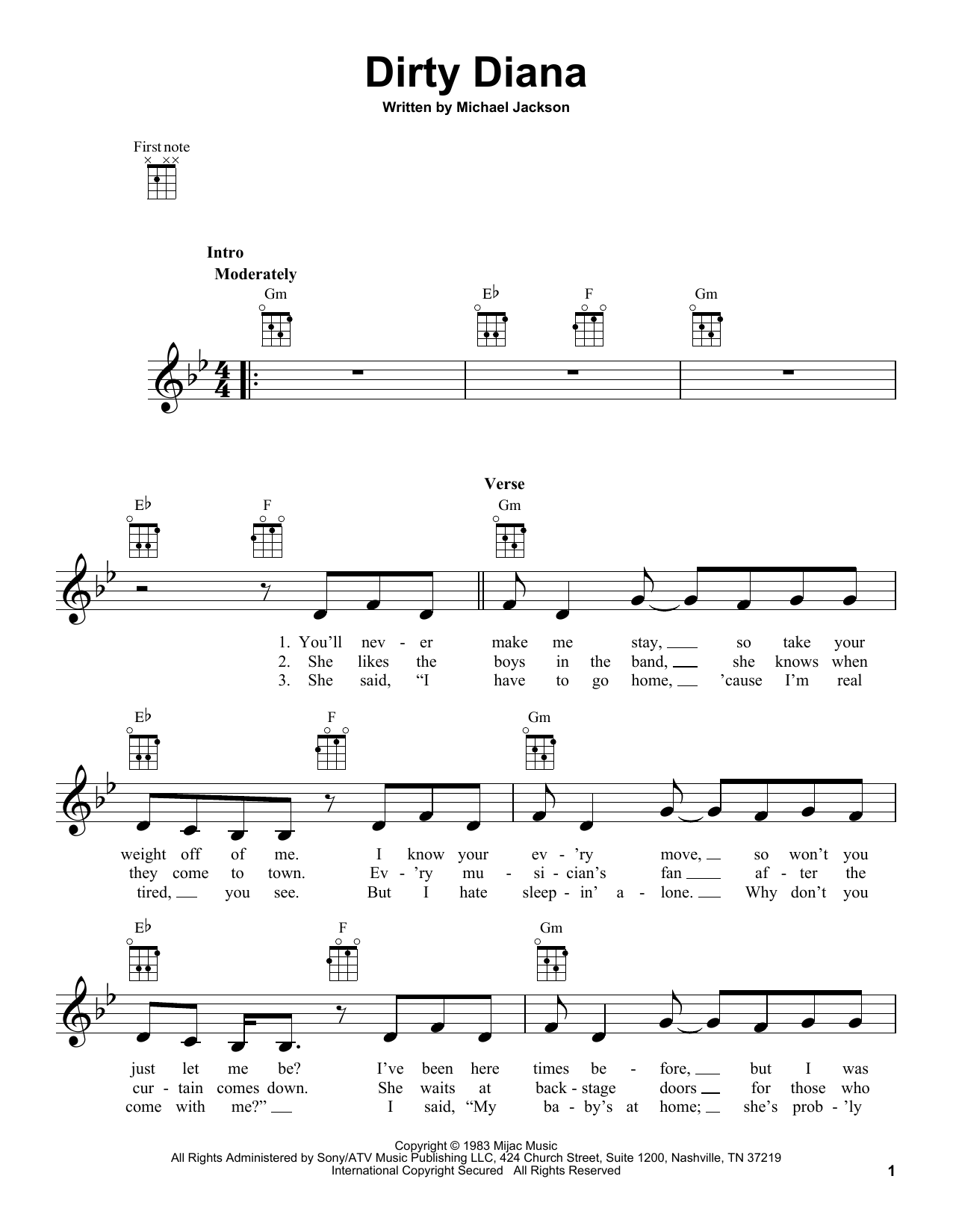 Michael Jackson Dirty Diana Sheet Music Notes Chords Printable