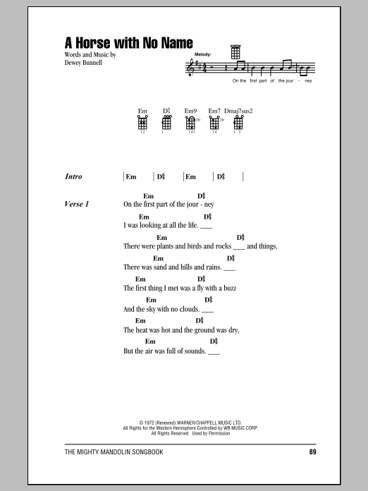 America A Horse With No Name Sheet Music Notes Chords Printable