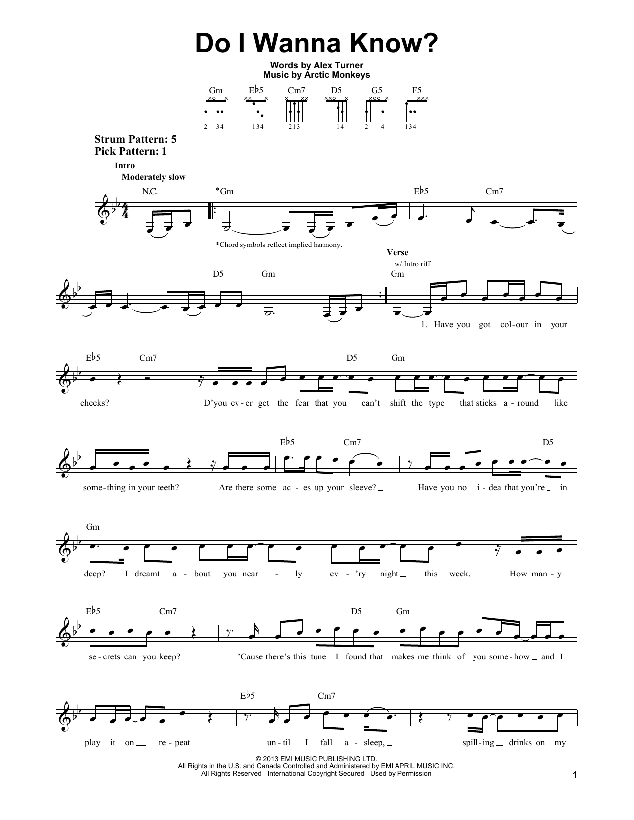 Arctic Monkeys Do I Wanna Know Sheet Music Notes Chords