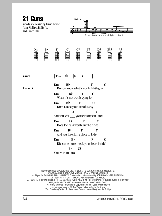 Green Day 21 Guns Sheet Music Notes Chords Printable Punk