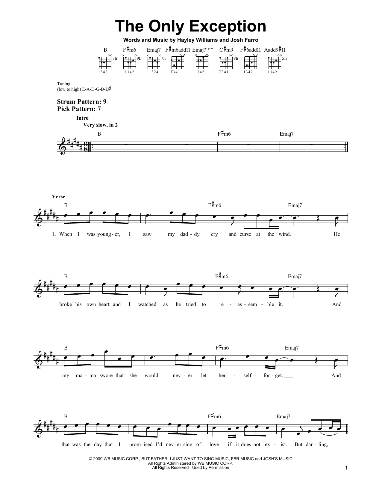Paramore The Only Exception Sheet Music Notes Chords Printable
