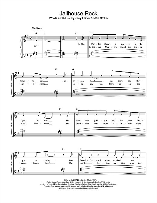 Elvis Presley Jailhouse Rock Sheet Music Notes Chords Printable