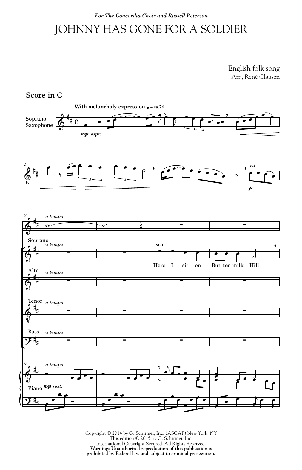 Rene Clausen Johnny Has Gone For A Soldier Sheet Music Notes