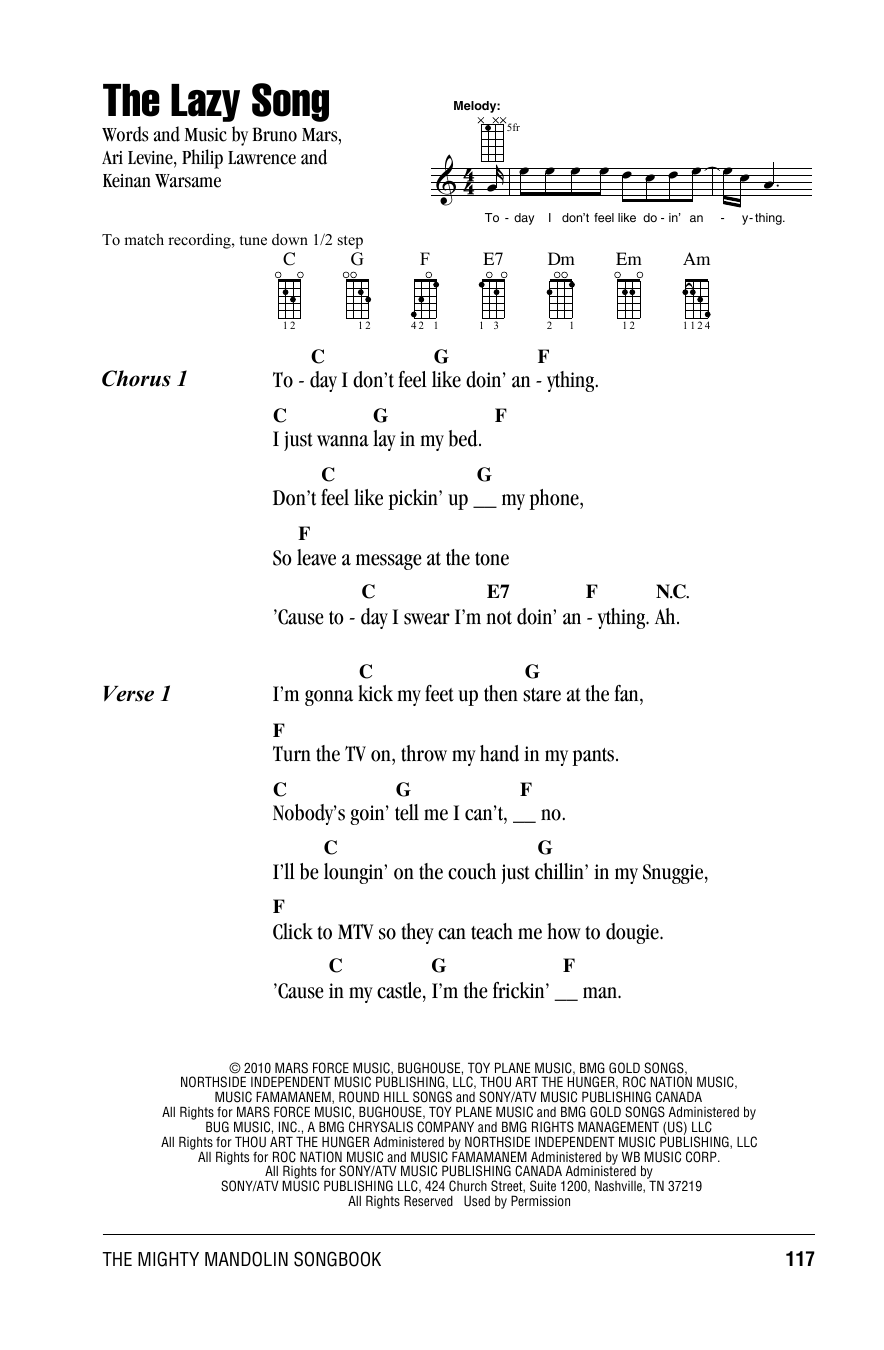 Bruno Mars The Lazy Song Sheet Music Notes Chords Printable Pop