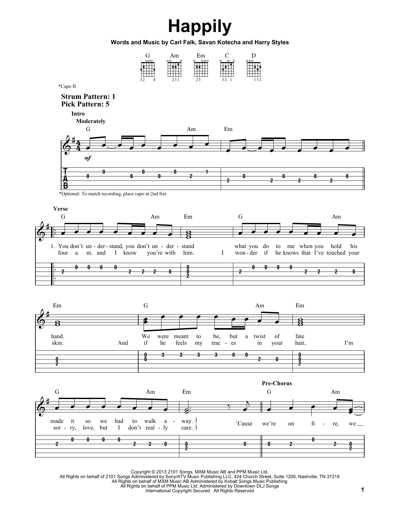 One Direction Happily Sheet Music Notes Chords Printable Pop