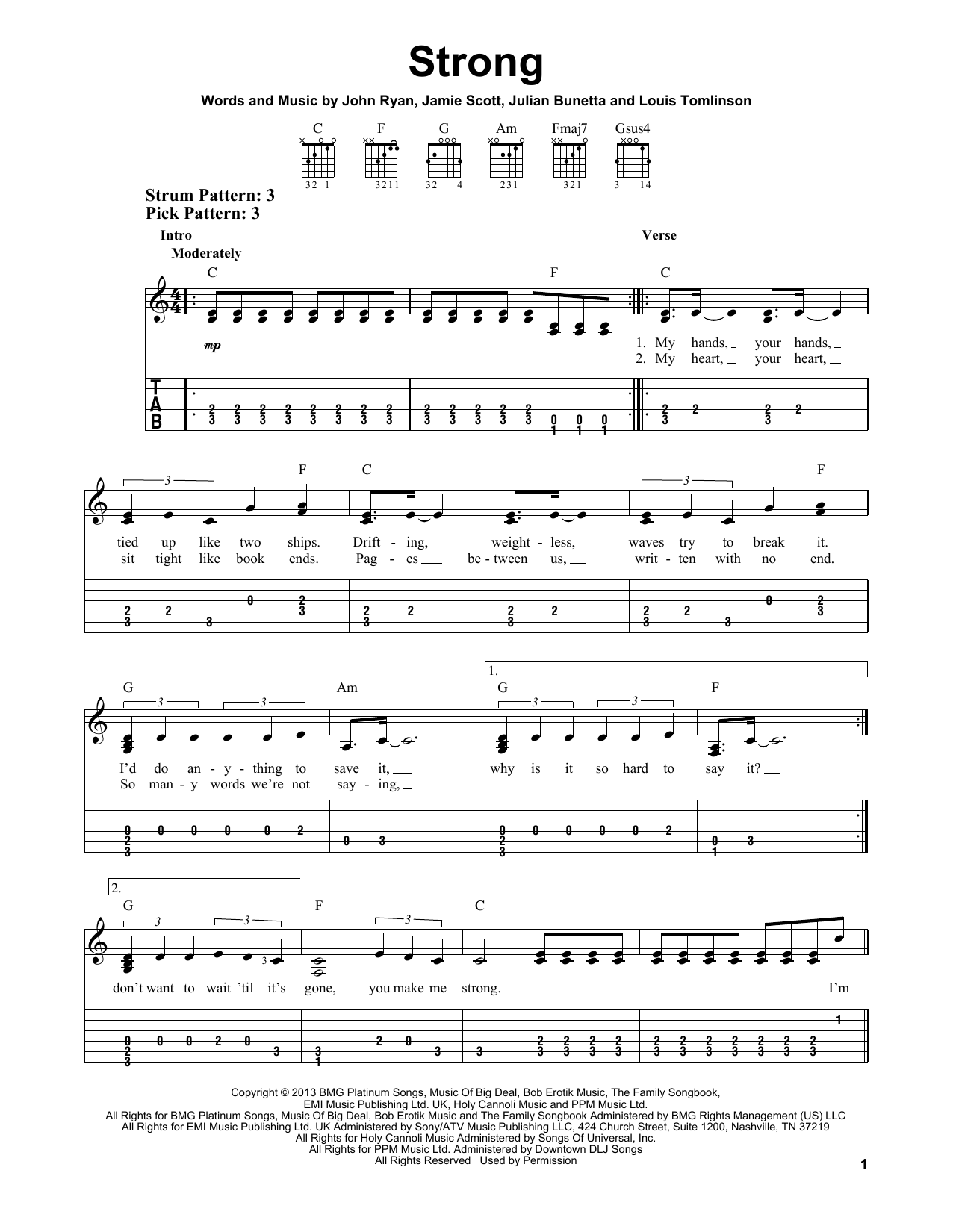 One Direction Strong Sheet Music Notes Chords Printable Pop
