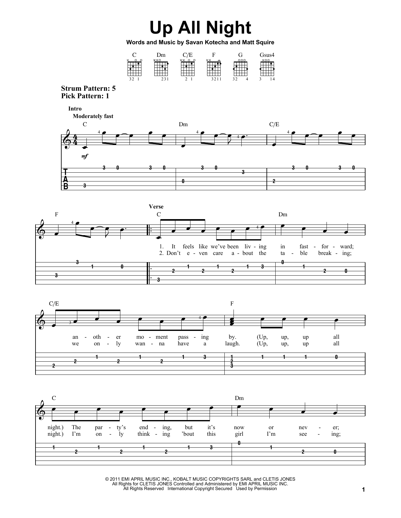 One Direction Up All Night Sheet Music Notes Chords Printable