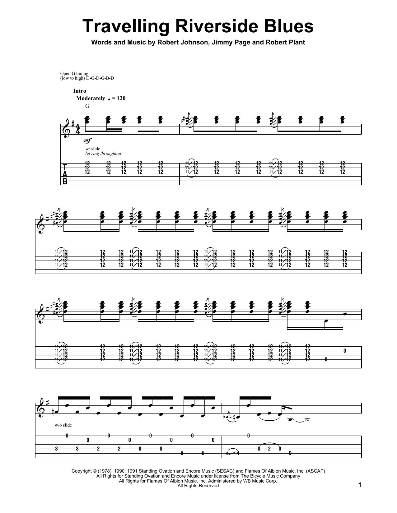 Robert Johnson Travelling Riverside Blues Sheet Music Notes