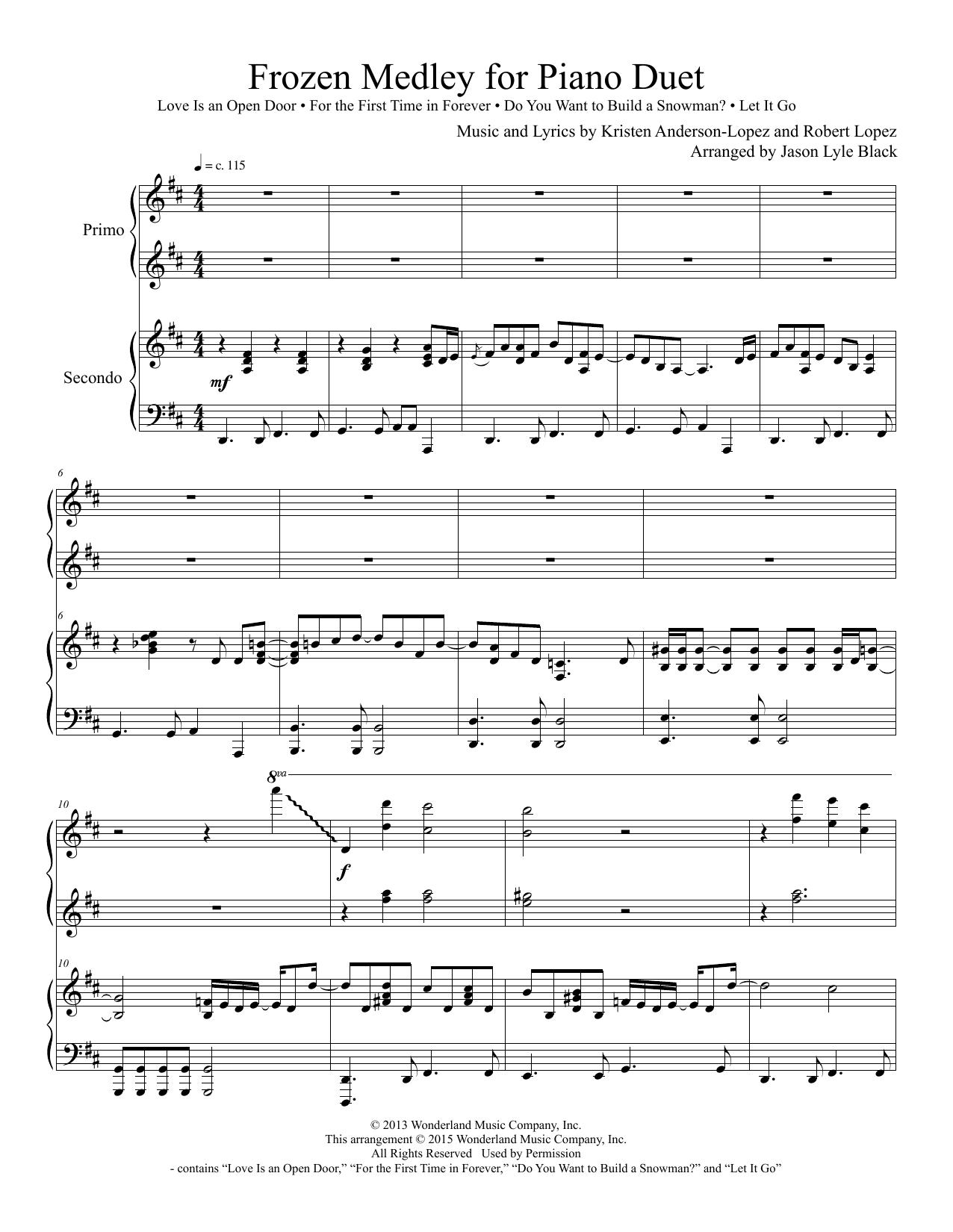 Jason Lyle Black Frozen Medley For Piano Duet Sheet Music Notes