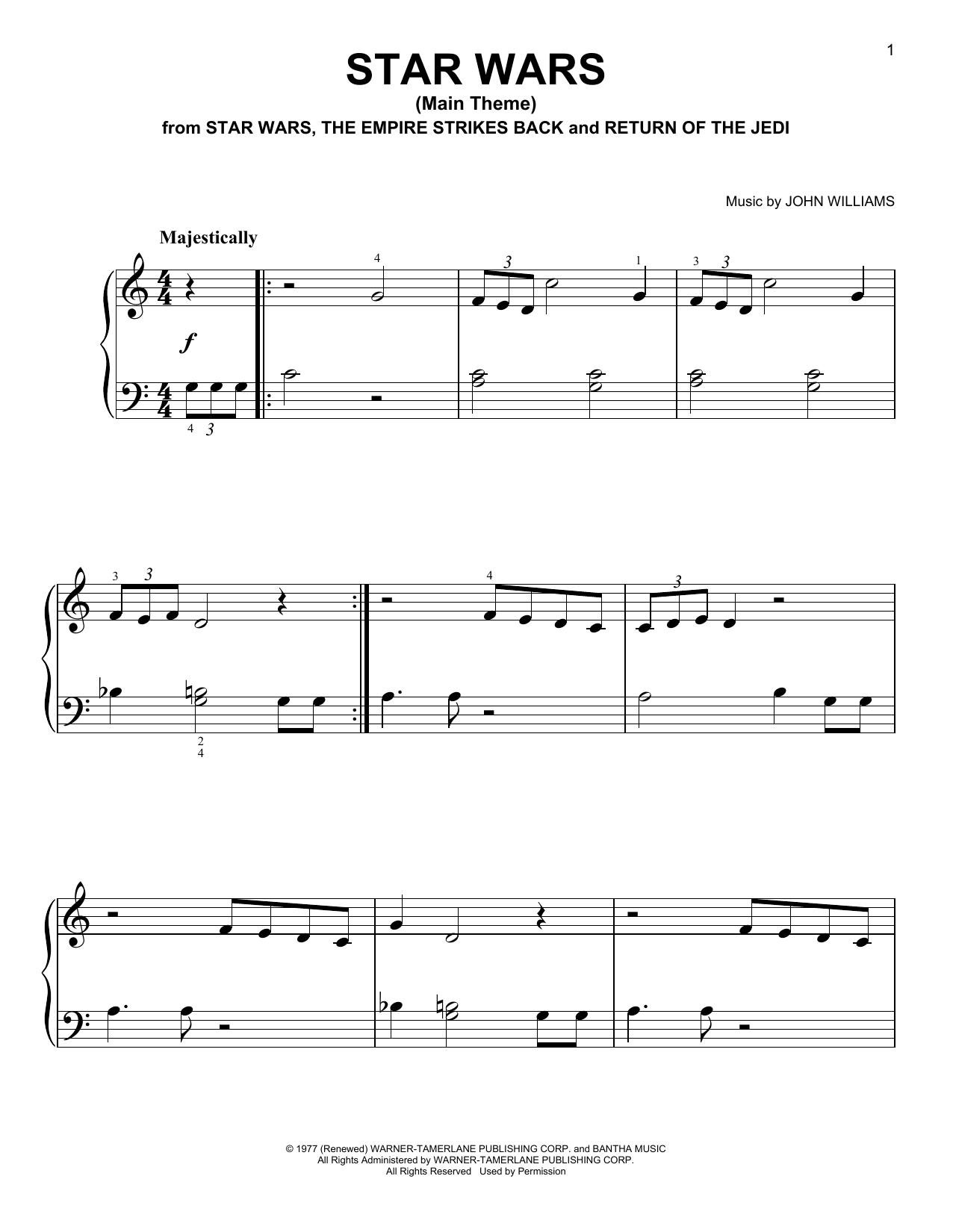 John Williams Star Wars Main Theme Sheet Music Notes Chords