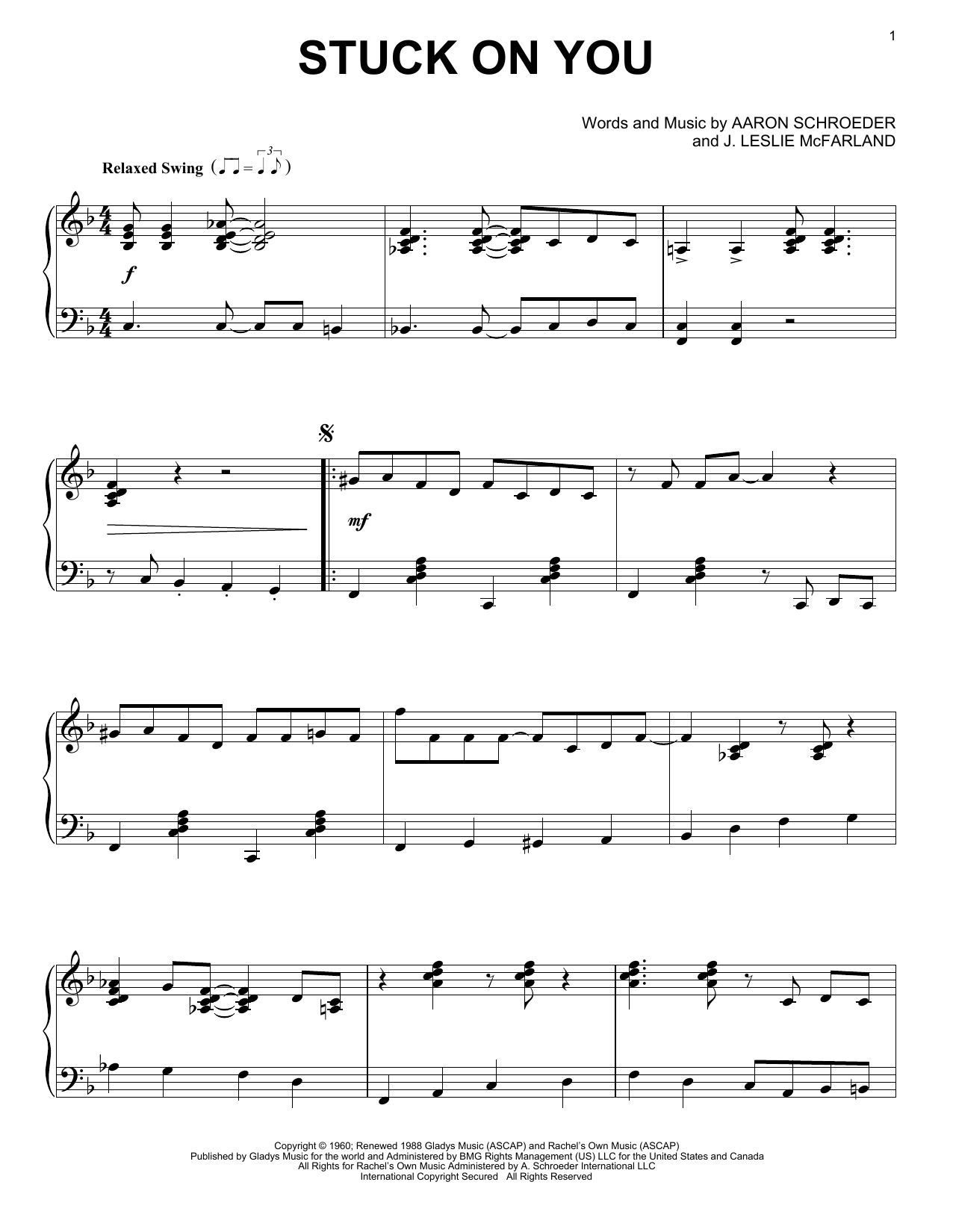 Elvis Presley Stuck On You Sheet Music Notes Chords Printable
