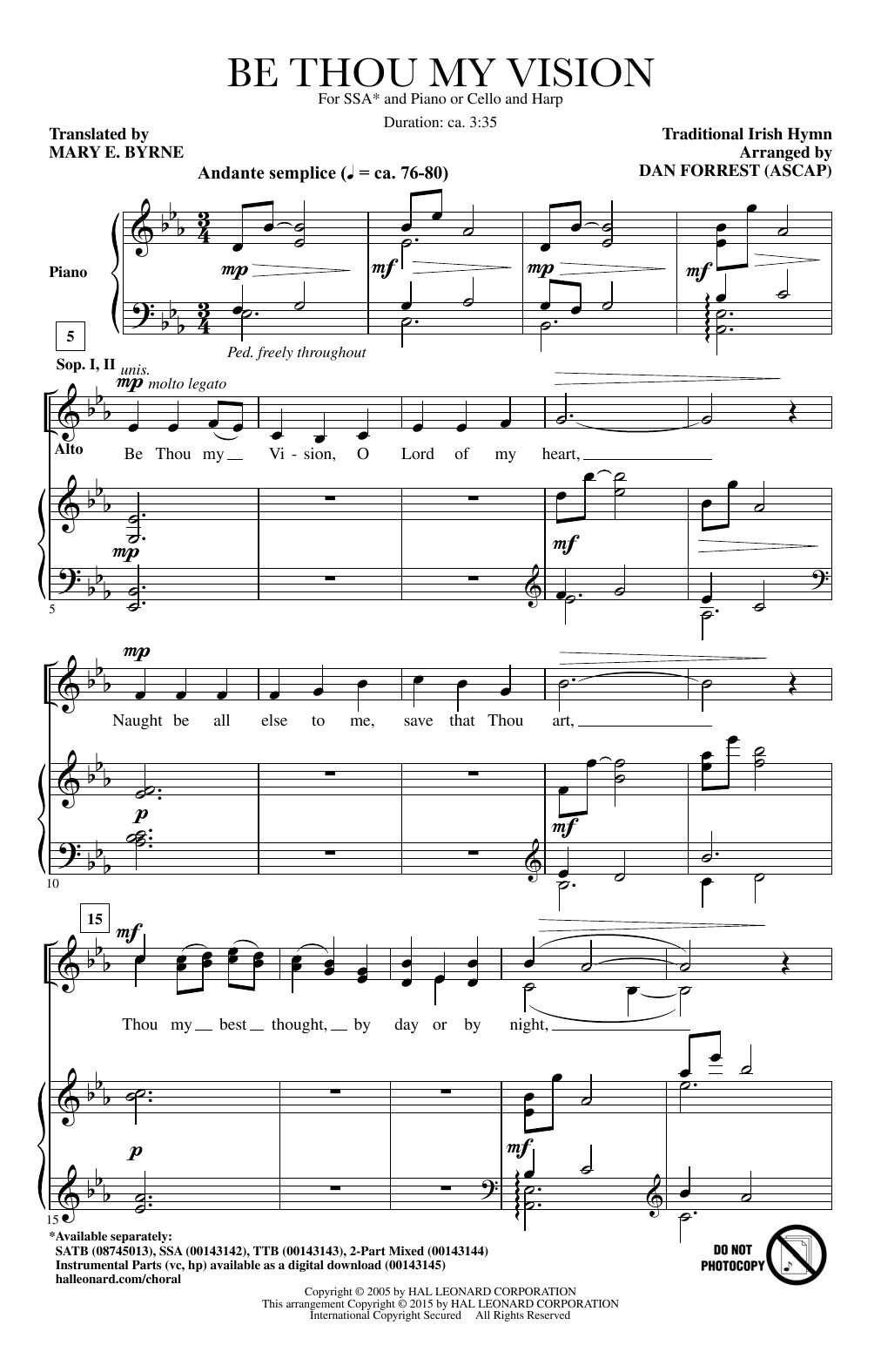 Dan Forrest Be Thou My Vision Sheet Music Notes Chords
