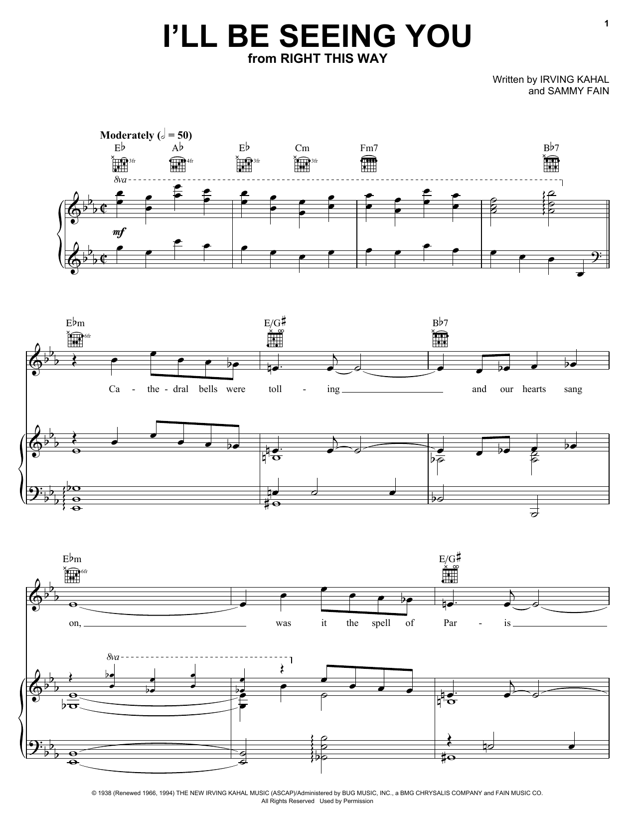 Frank Sinatra Ill Be Seeing You Sheet Music Notes Chords