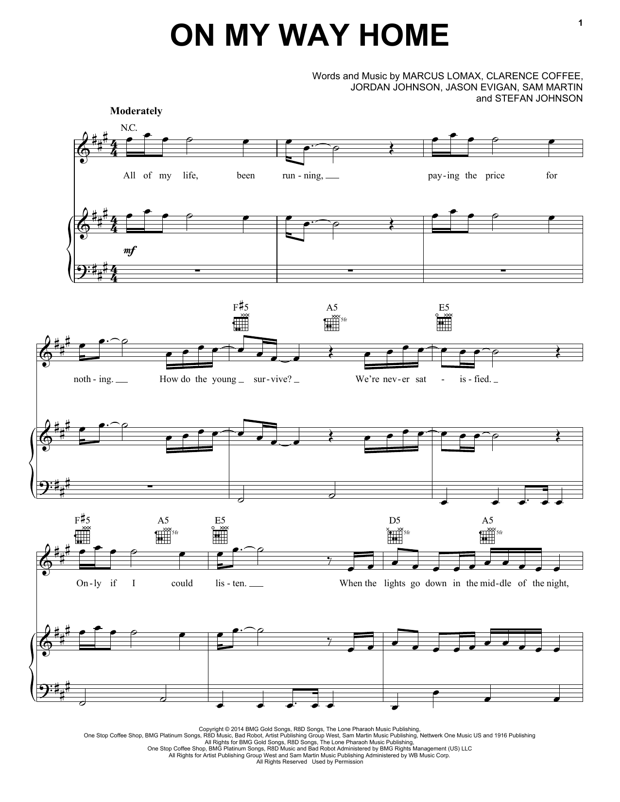 Pentatonix On My Way Home Sheet Music Notes Chords Printable A