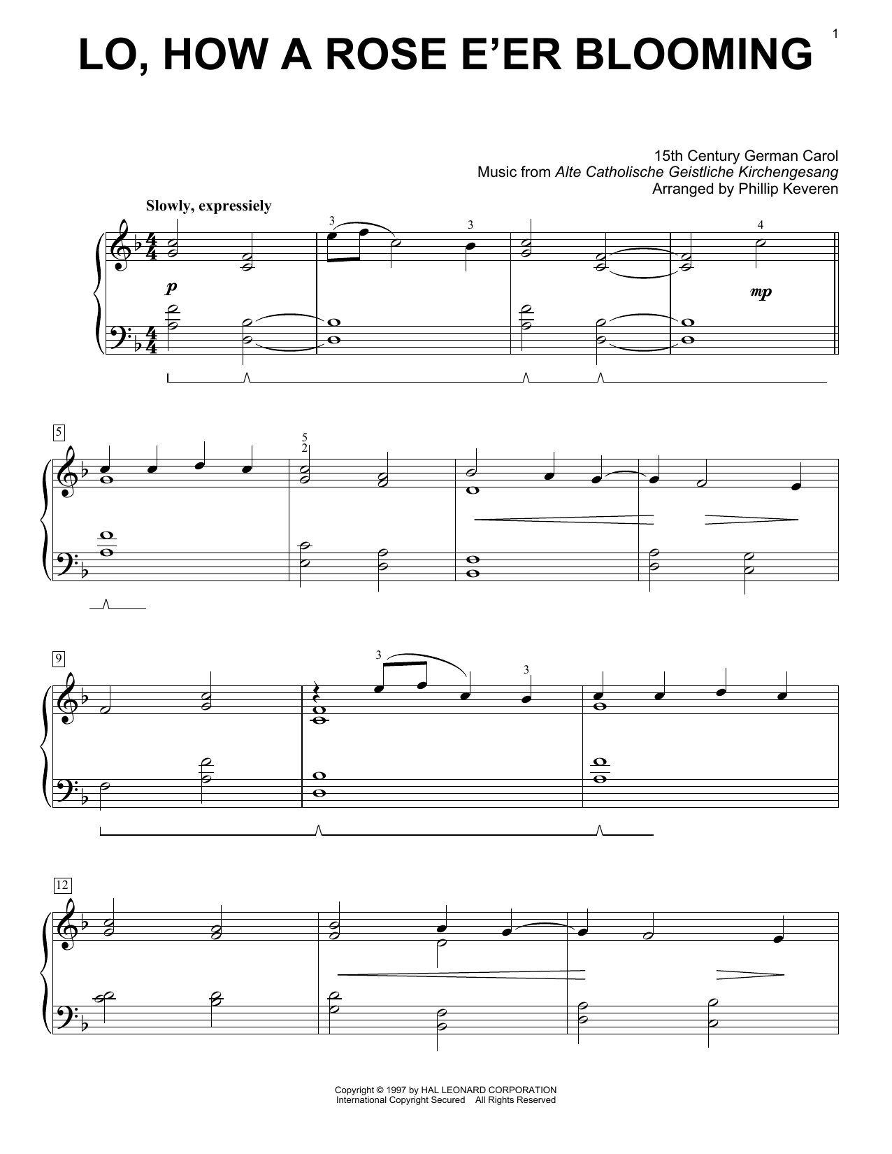 15th Century German Carol Lo, How A Rose E'er Blooming (arr. Phillip Keveren) sheet music notes and chords. Download Printable PDF.