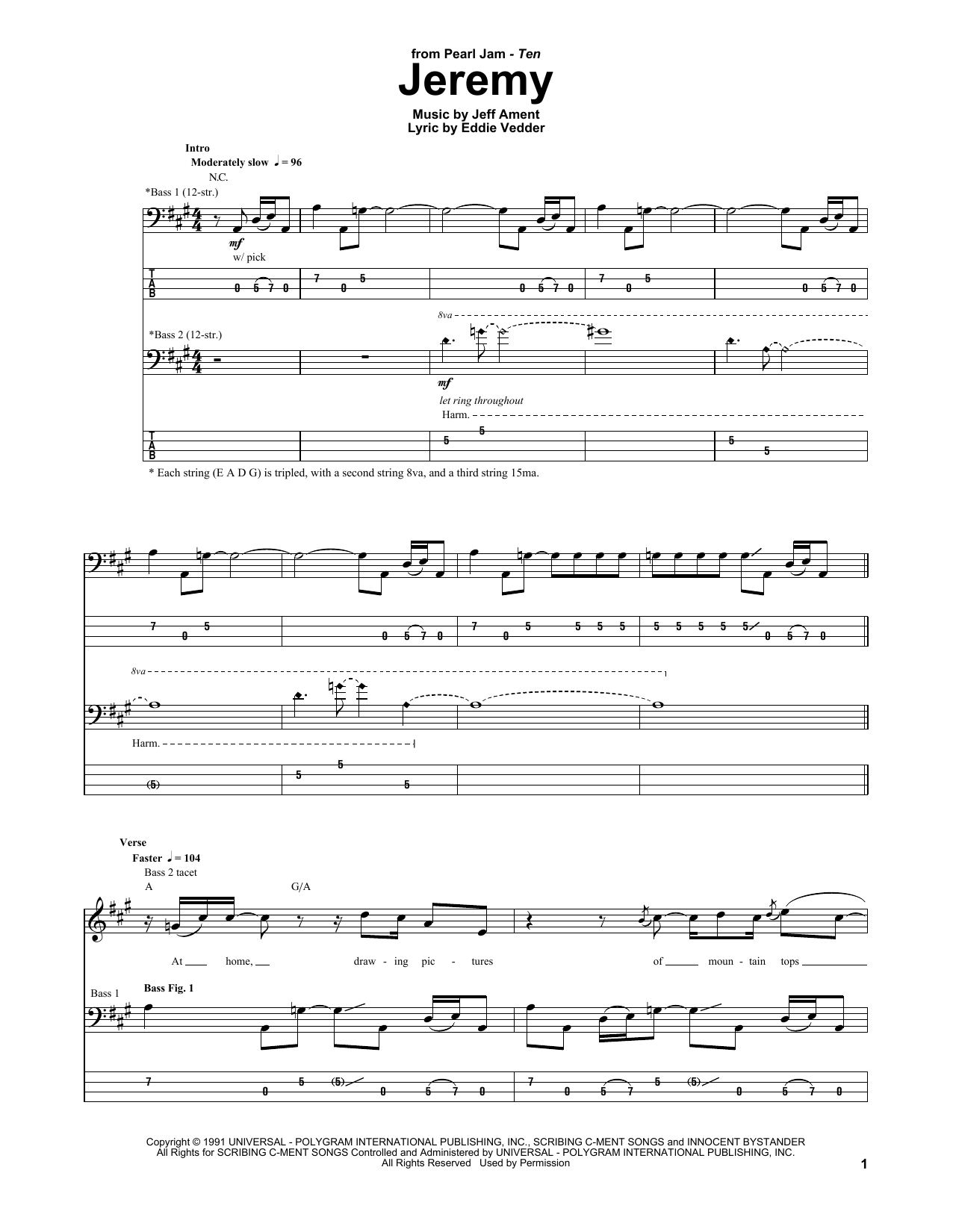 Pearl Jam Jeremy Sheet Music Notes Chords Printable Rock Bass