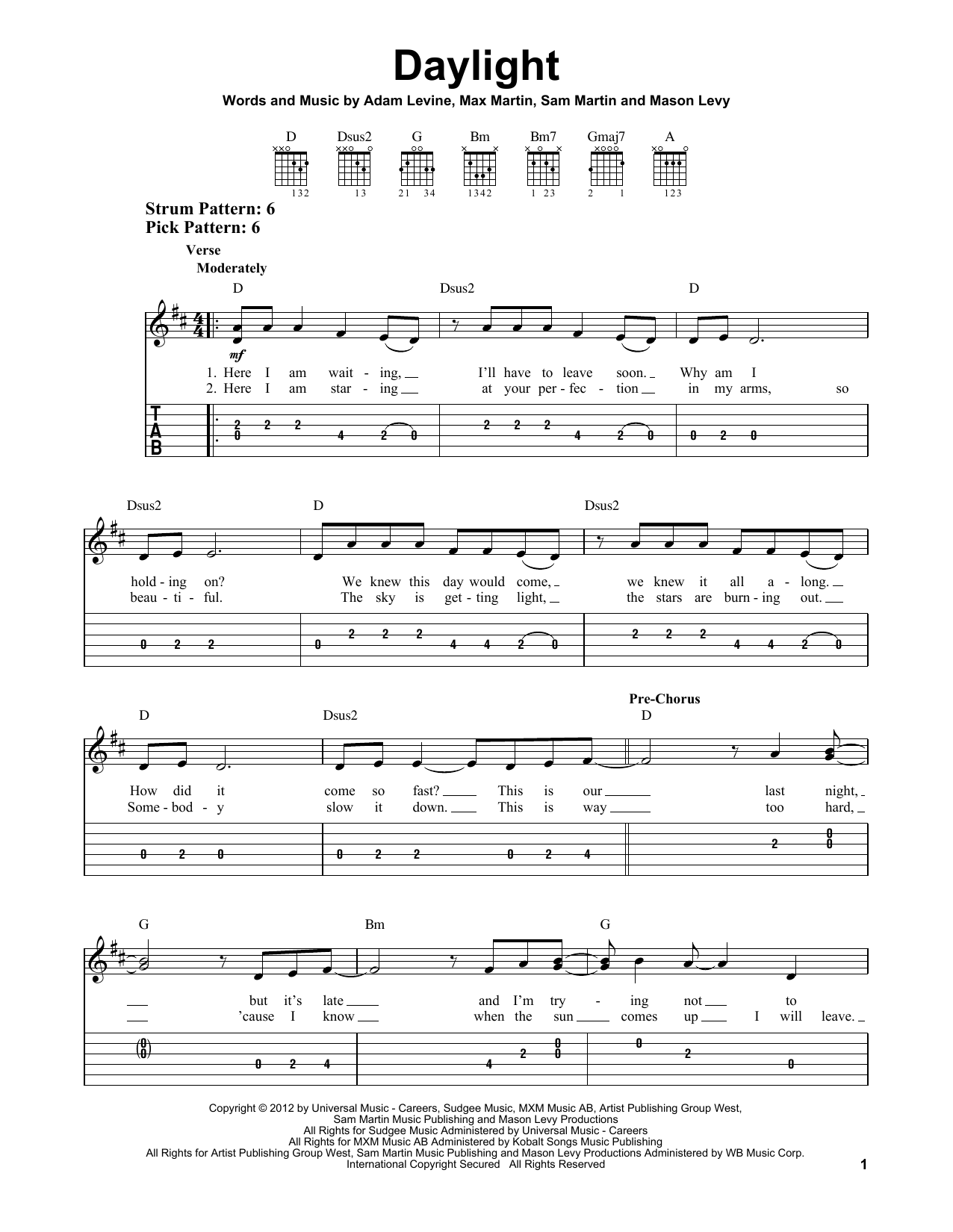 Maroon 5 Daylight Sheet Music Notes Chords Printable Rock Easy