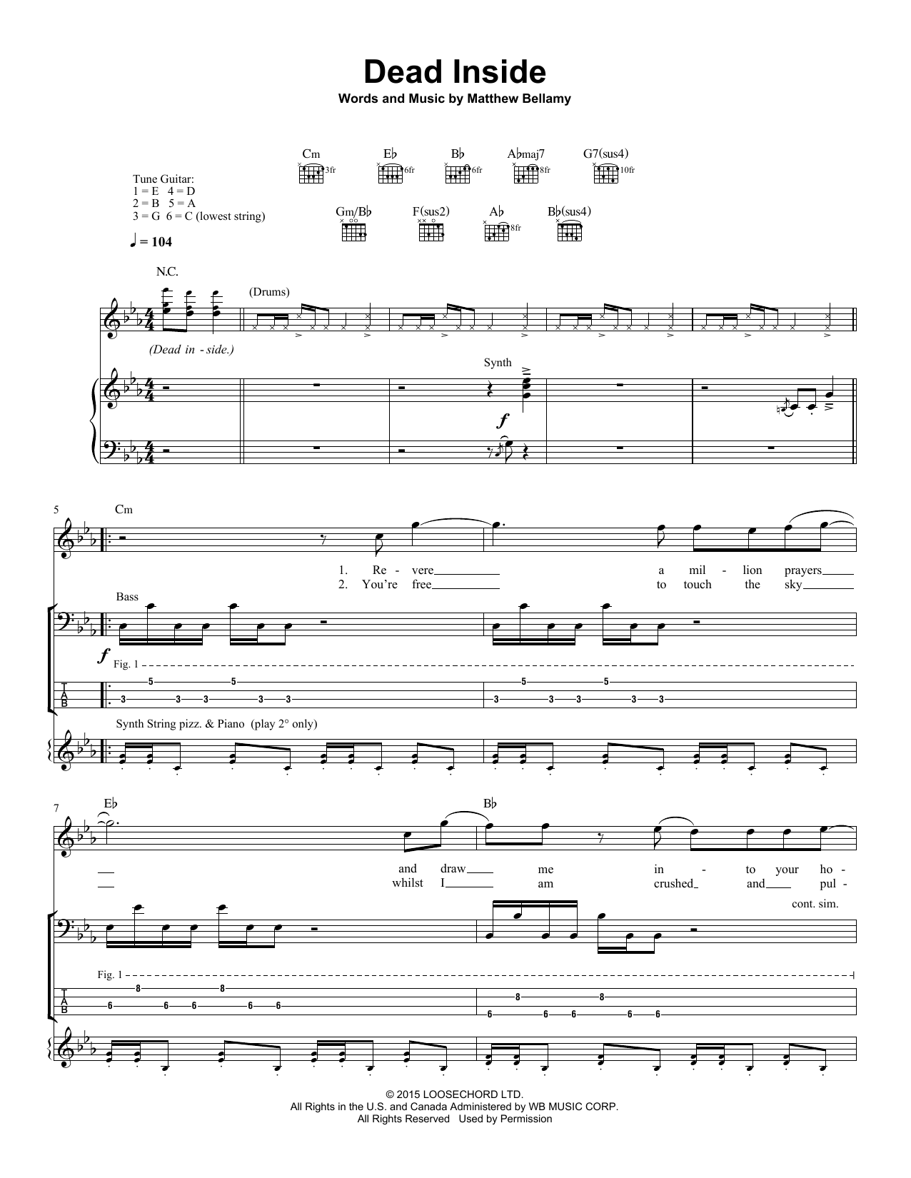 Muse Dead Inside Sheet Music Notes Chords Printable Pop Guitar