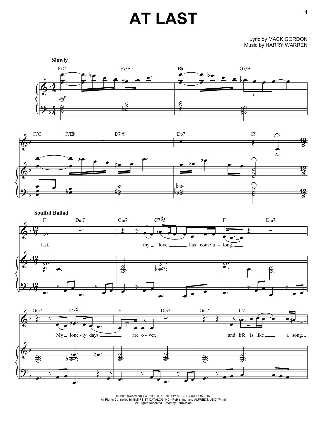Etta James At Last Sheet Music Notes Chords Printable Jazz