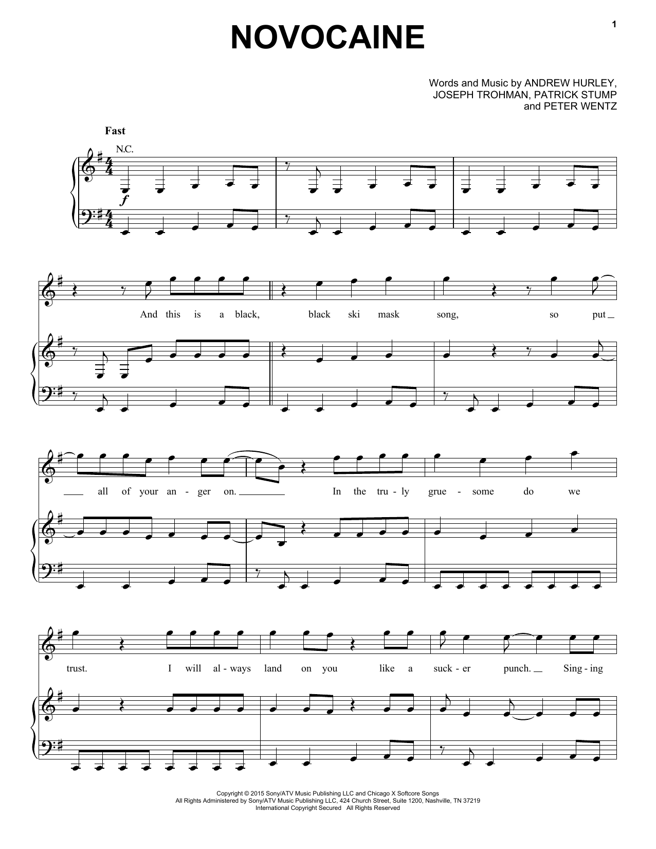 Fall Out Boy Novocaine Sheet Music Notes Chords Printable Rock