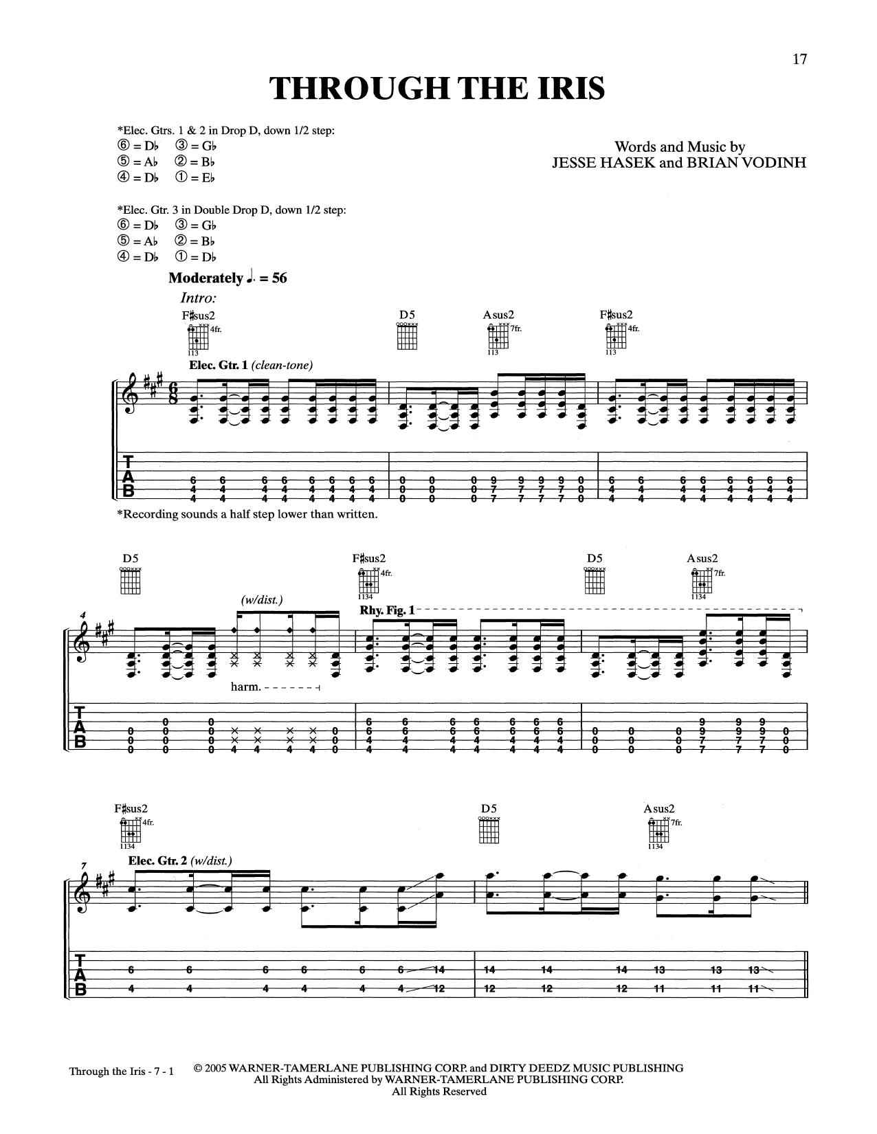 10 Years Through The Iris Sheet Music Notes Chords Printable
