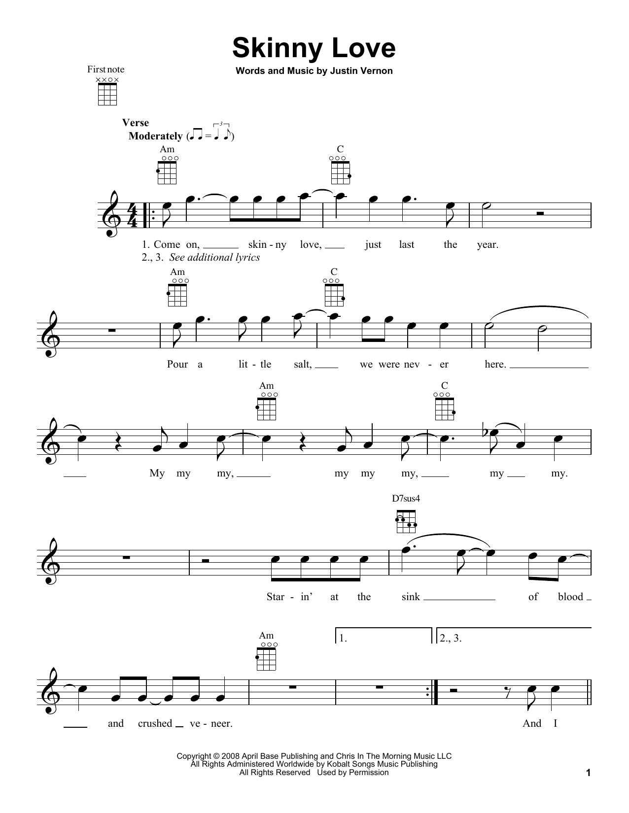 Bon Iver Skinny Love Sheet Music Notes Chords Printable Pop