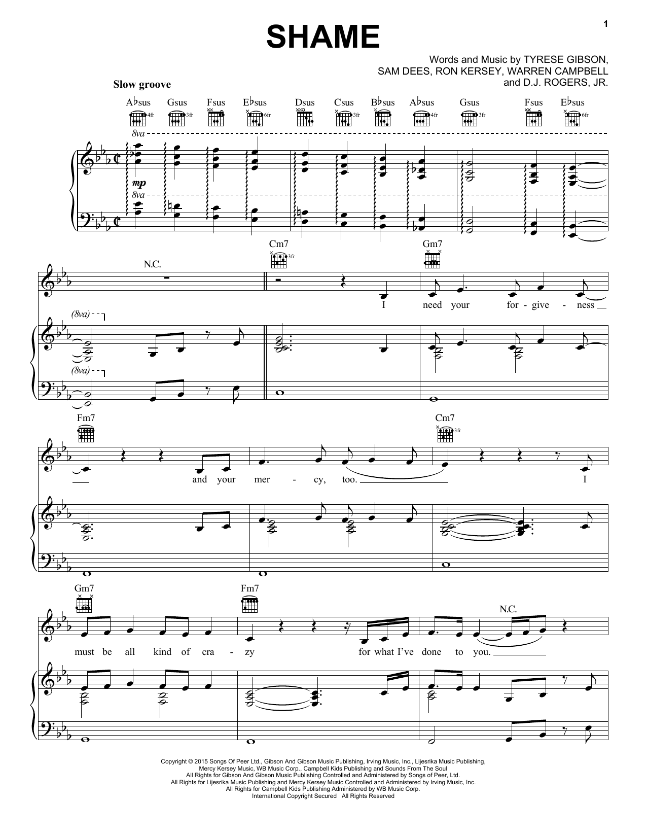 Tyrese Shame Sheet Music Notes Chords Printable Pop Piano
