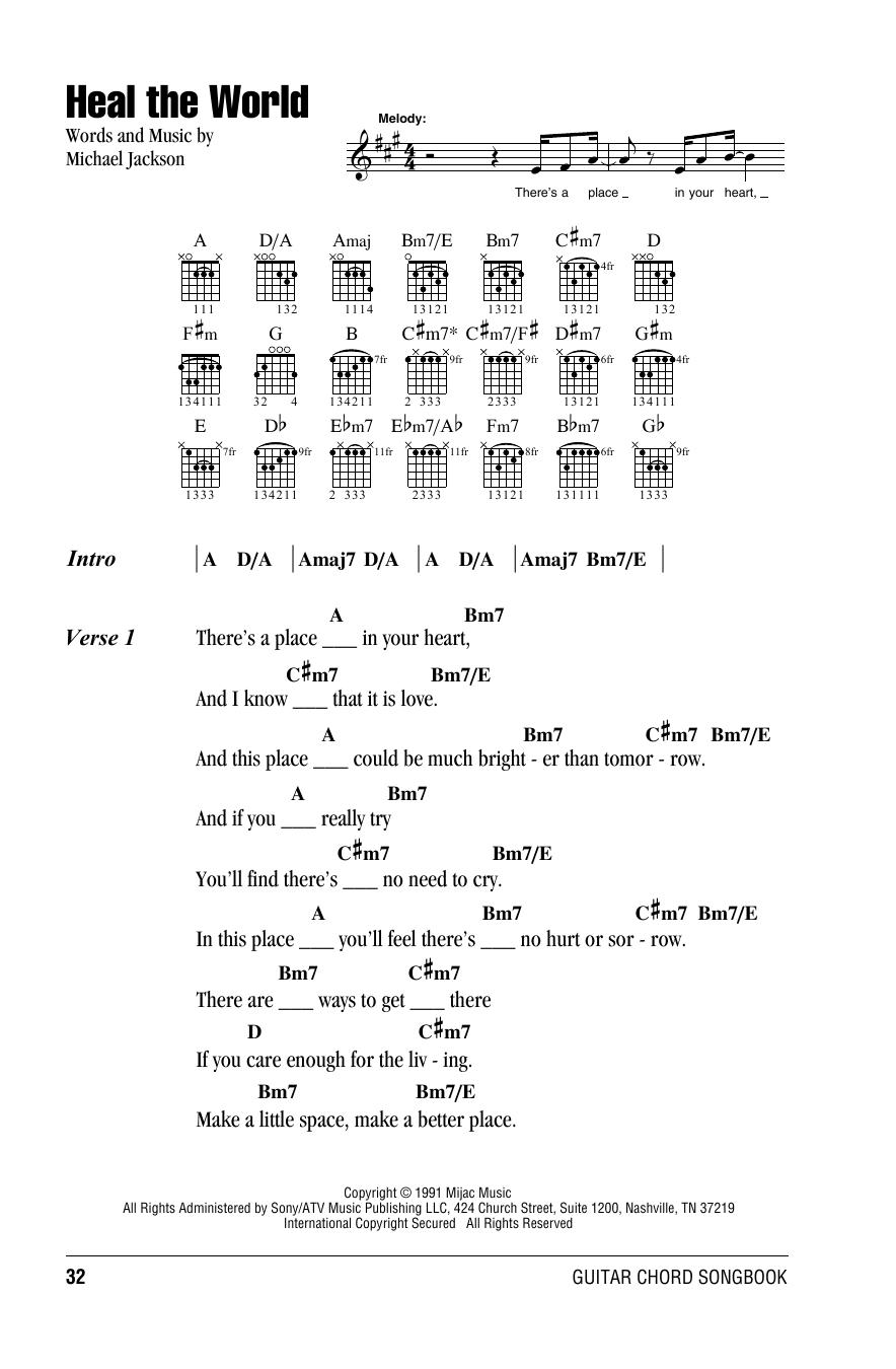 Michael Jackson 'Heal The World' Sheet Music Notes, Chords   Download  Printable Lyrics & Chords - SKU: 160992