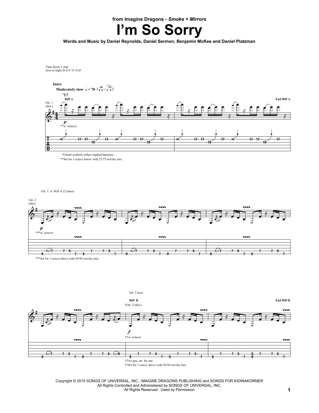 Imagine Dragons Im So Sorry Sheet Music Notes Chords Printable