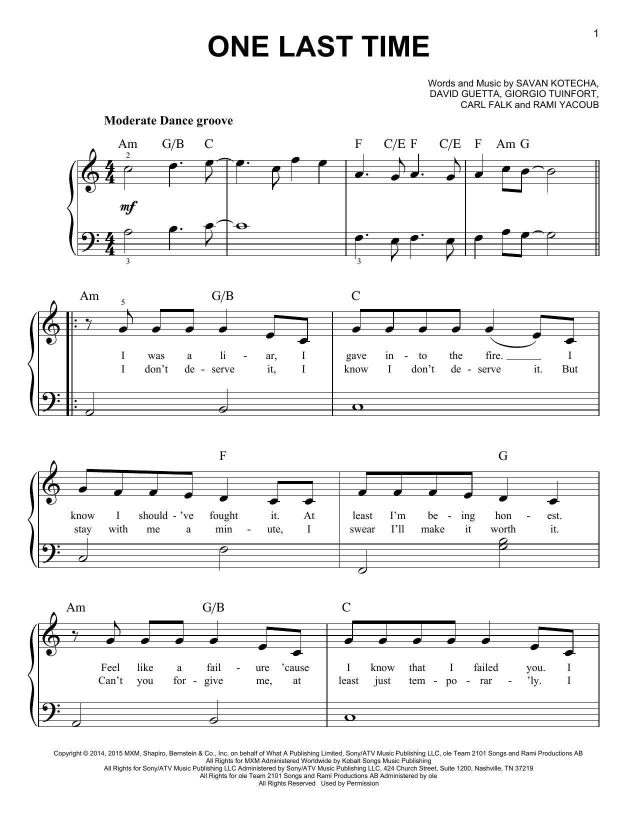 Ariana Grande One Last Time Sheet Music Notes Chords Printable