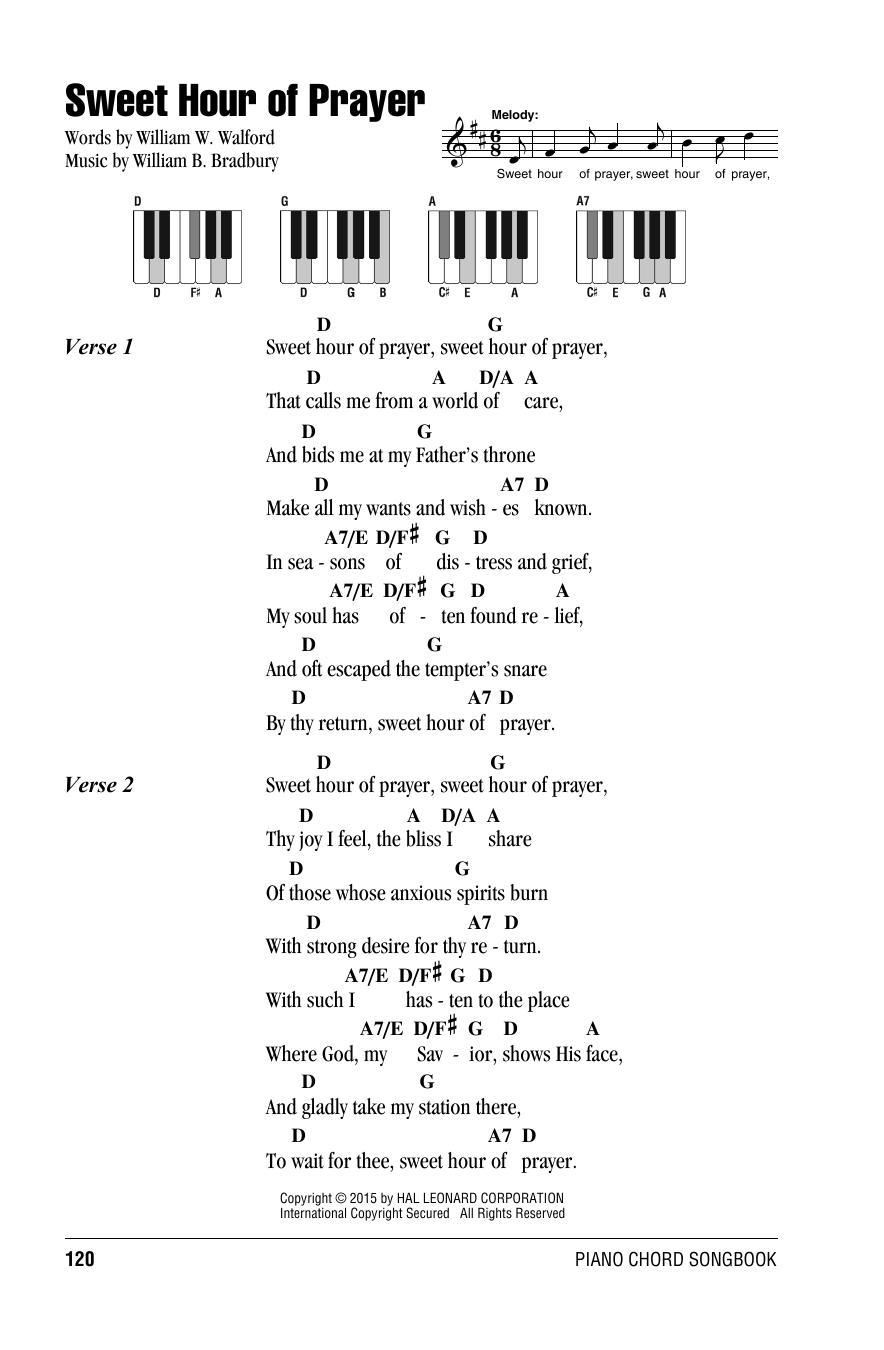 William B Bradbury Sweet Hour Of Prayer Sheet Music Notes Chords