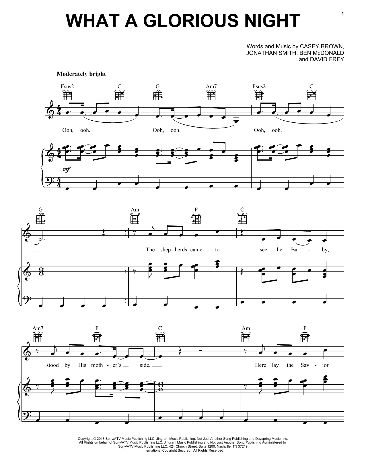 Sidewalk Prophets What A Glorious Night Sheet Music Notes Chords