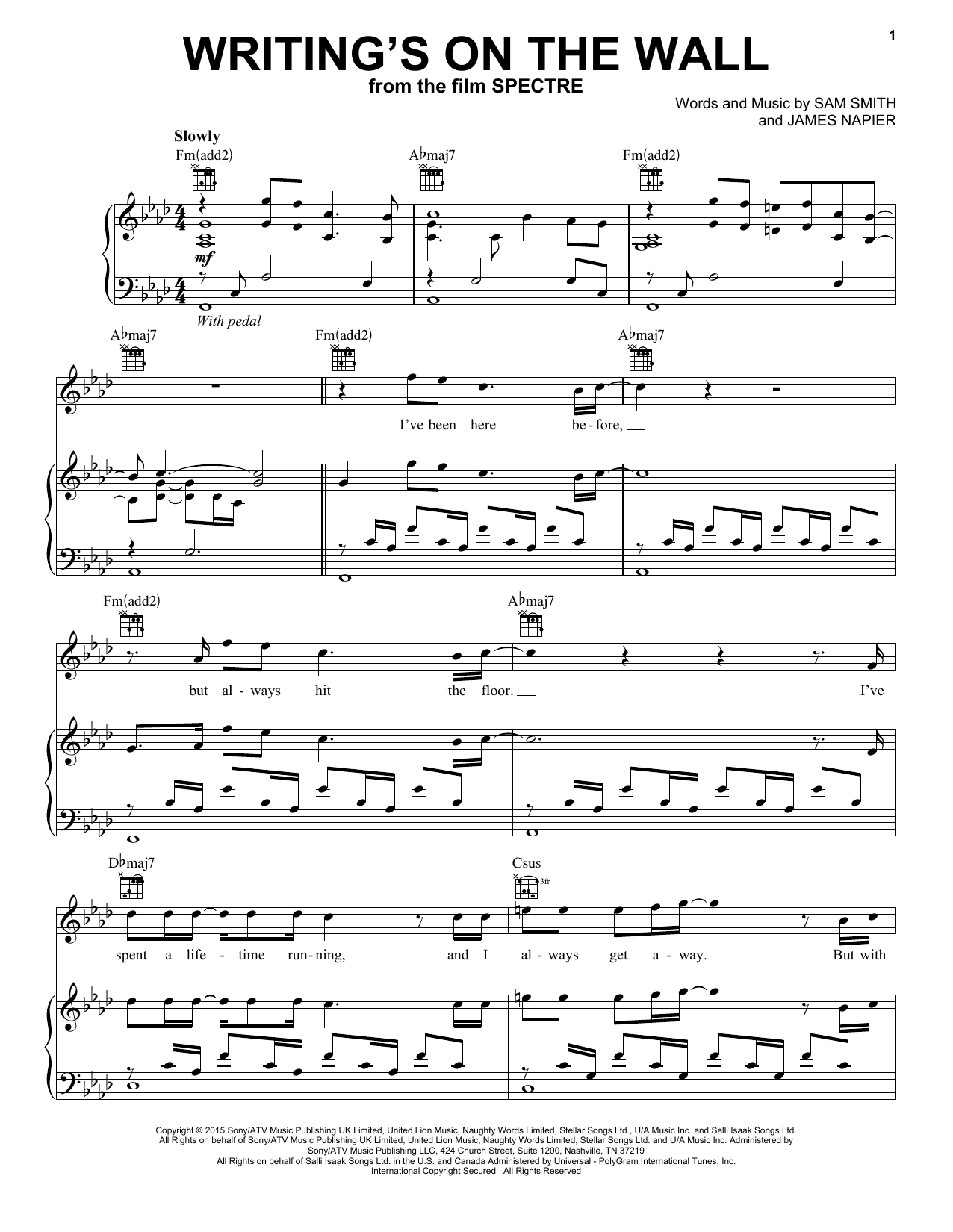 Sam Smith Writings On The Wall Sheet Music Notes Chords