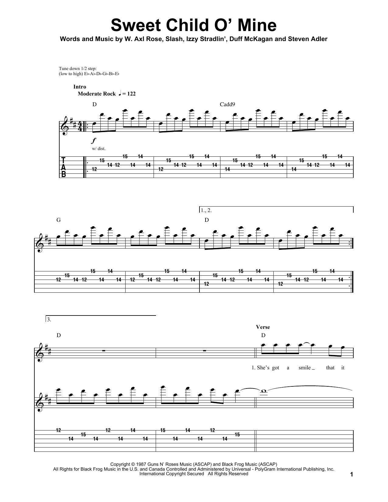 sweet child of mine bass tabs